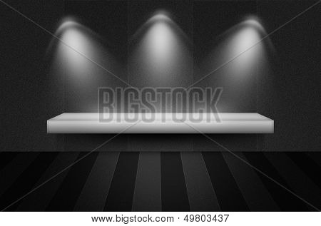 Black Texture Scene Or Background With Spotlight And Empty Shelf