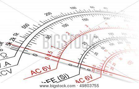 Analog multimeter scale