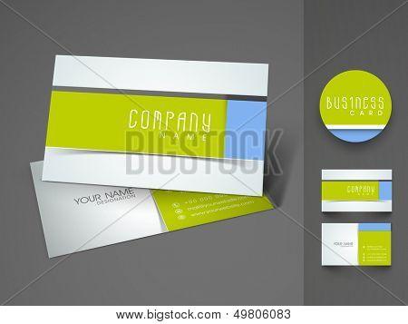 Elegant professional and designer business card set or visiting card set in green and blue color.