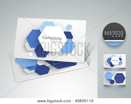 Beautiful professional and designer business card set or visiting card set in blue and black color.