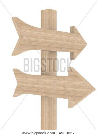 Wooden Directional Marker On A White Background. Isolated 3D Image