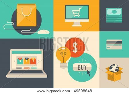 E-commerce e Internet compras ícones