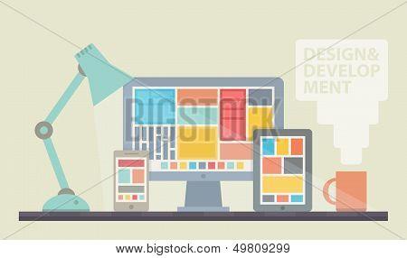 Ilustração de desenvolvimento Web Design