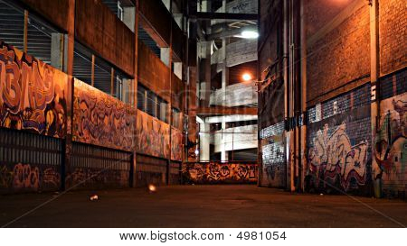 Graffiti Alley At Night.