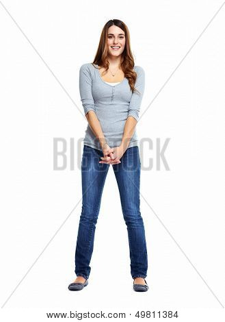 Standing woman. Isolated on white background.