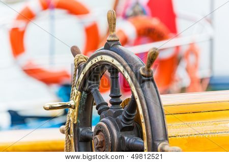 Steering wheel on sailing ship