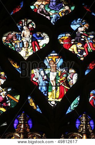 PARIS - NOV 07, 2012: Stained glass, church is dedicated Gervasius and Protasius is one of the oldest in Paris. Known for its richly painted stained glass, Paris on Nov 07, 2012
