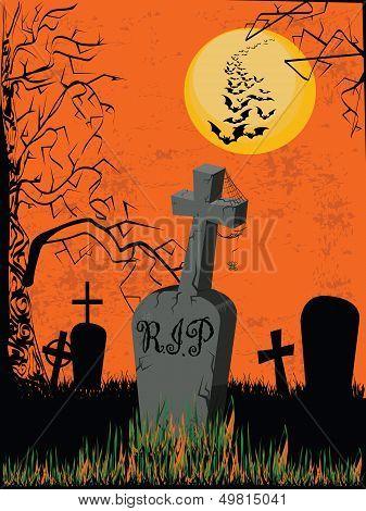 Graveyard on an orange background