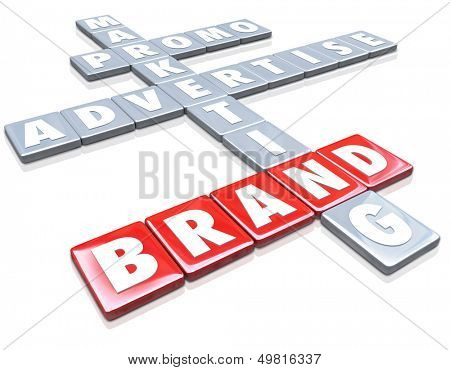 The word Brand on red letter tiles with other words such as Marketing, Advertise and Promo to illustrate the concepts of branding for a company or product