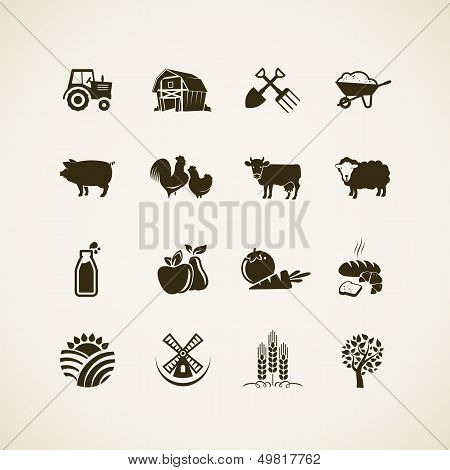 Set of farm icons poster