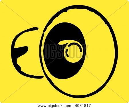 Megaphone On A Yellow Background.