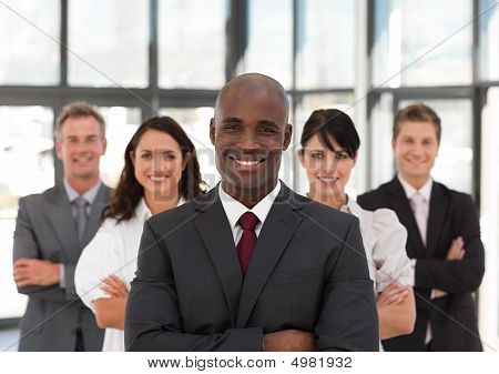 Young African American Man Business Leading A Team