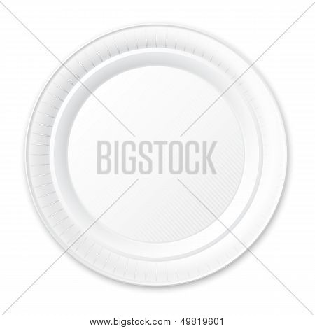 Disposable Plastic Plate. Isolated on White.