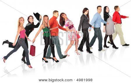 Walking People Collage