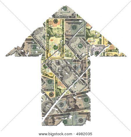 Grunge Up Dollar Arrow