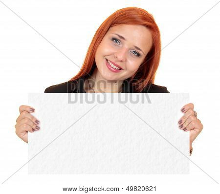 Beautiful business woman holding up a blank banner