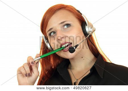 Business woman with headset on white background