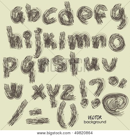 art sketch set of vector character fonts symbols