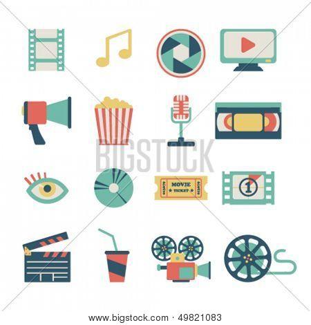 set of flat movie design elements