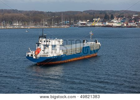 Aerial View Of Freighter In Harbor Of Kiel, Germany