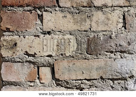 Old Damaged Brick Wall Background