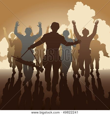 Editable vector illustration of a troop of defeated soldiers surrendering
