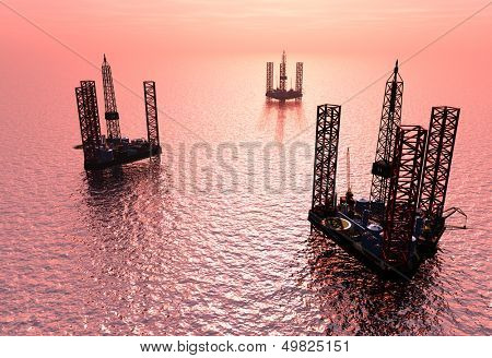Petrochemical tower on the background of the sea.