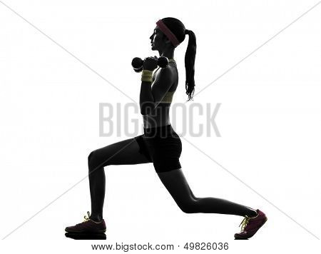 one  woman exercising fitness workout lunges crouching weight training  in silhouette  on white background