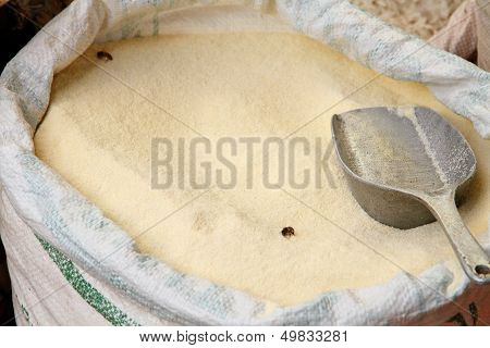 Sack Of Cane Sugar With Scoop And Bees