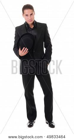 Elegant Young Man In Black Suit