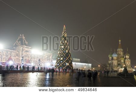 Moscow, Christmas Tree On Red Square