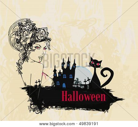 Abstract Portrait Of A Beautiful Female Vampire And A Haunted House