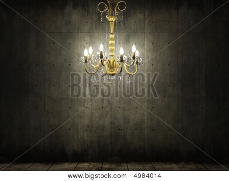 Chandelier In Dark Grungy Concrete Room
