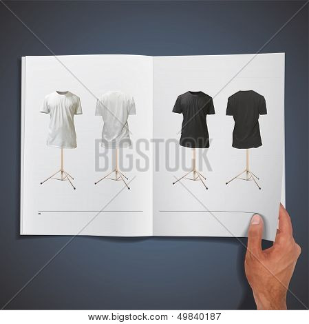 Empty Black And White Shirts Printed On Book. Vector Design.