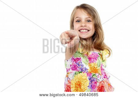 Cute Girl Kid Pointing At You
