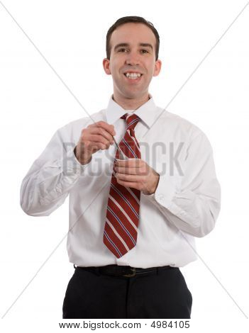 Businessman Eating Yogurt