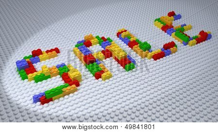 Sale Wording Constructed From Colorful Plastic Bricks On White Background