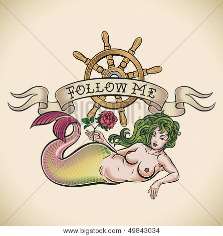 Old-school styled tattoo of a green hair mermaid with a red rose, a nautical steering wheel and a banner. Raster image. Check my portfolio for an editable version.