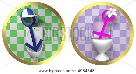 Restroom - Toilet Male And Female Signs On Tiled Wall
