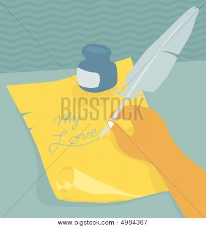 Writing Love Letter With A Quill