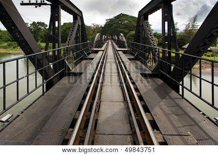 Ricer Kwai bridge railway diminishing perspective view, Thailand