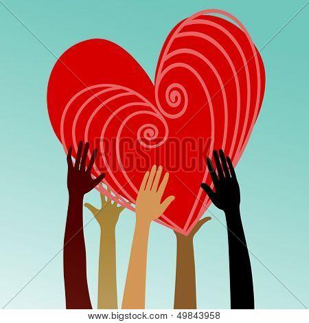 mãos multiculturais com coração