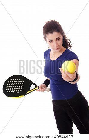 Feminine Paddle Tennis Player