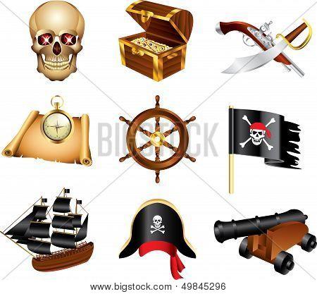 pirates icons vector set