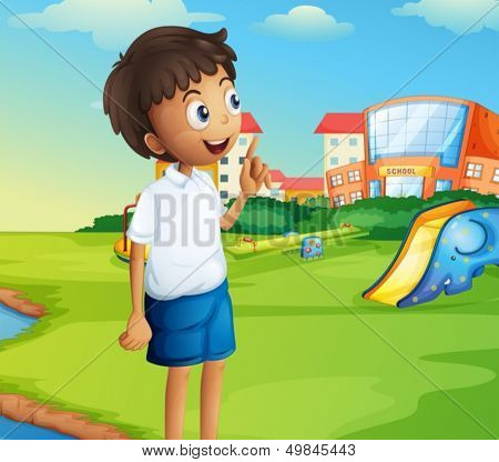 Illustration of a boy at the school playground