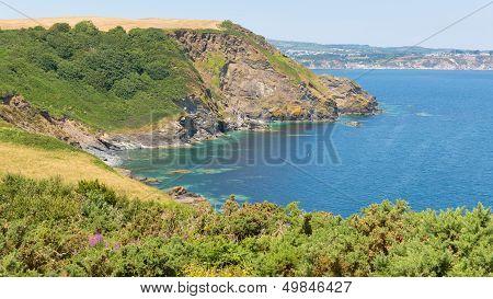 St Austell Bay Cornwall from Black Head headland between Porthpean and Pentewan