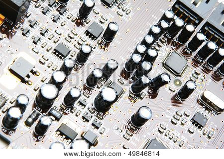 Capacitors On Electronics Board