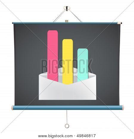 Open Envelope Over Projector Screen. Vector Design