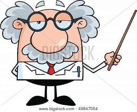 Funny Scientist Or Professor Holding A Pointer