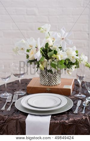 Brown Wedding Reception Table Setting